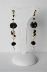 Orecchini, mora spinello nero, perle coltivato