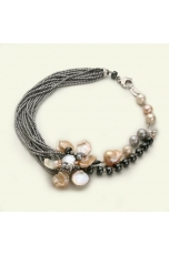 Collier ematite e perle coltivate,  Pz unico