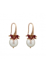 Orecchini perle coltivate, Granato diamond