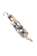 Bracciale agata blu zaffiro, perle coltivate