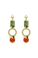 Orecchini quarzo rutilato verde, agata arancione, perle coltivate