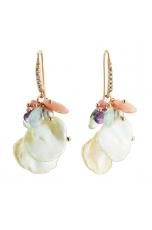Orecchini acquamarina multicolor,  Opale rosa, perle coltivate