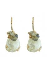 Orecchini perle coltivate biwa, Acquamarina, labradorite