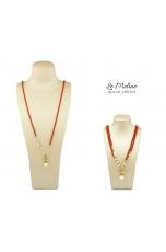 Collier regolabile 45-90cm corallo bamboo rosso, Perla coltivata