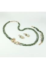 Parure Quarzo Rutilato verde, taglio diamond, Perle coltivate
