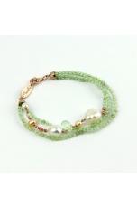 Bracciale quarzo rutilato verde Perle coltivate