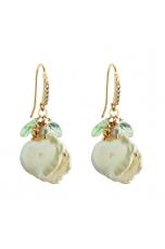 Orecchini perle coltivate, Ametista verde, quarzo verde Scuro
