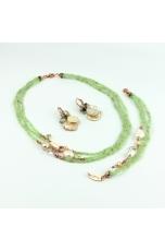 Parure Quarzo rutilato verde, perle coltivate  keshi. 44 cm