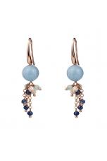 Orecchini  acquamarina  Multicolor e agata blu