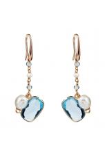Orecchini perle coltivate, quarzo idrotermale celeste