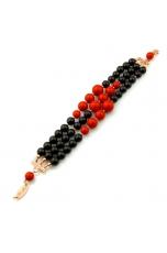 bracciale a tre fili agata nera corallo bamboo rosso
