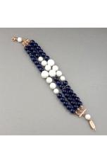Bracciale a tre fili agata blu zaffiro, agata bianca