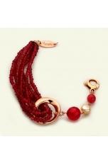 Bracciale agata ruby, perle coltivate, giada rosa