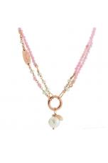 Collana regolabile in quarzo rosa diamond