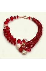 Collier agata ruby e perle coltivate, pz unico