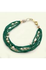 Thorchon rondelle agata verde smeraldo, perle coltivate