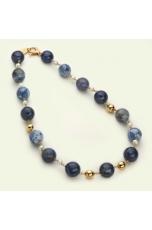 Collier agata blu, agata web, Perle coltivate
