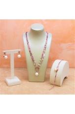 Parure Tormaline taglio diamond,  perle coltivate