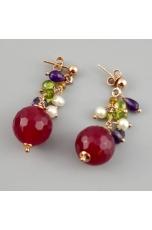 Orecchini, giada rosa-peridot-perle
