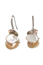 Orecchini perle coltivate , labradorite, quarzo rosa