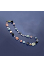 Collier Acquamarina multicolor,  Perle coltivate, cristallo di rocca