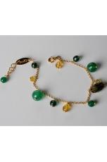 Bracciale charms, agata verde  smeraldo, quarzo citrino