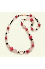 Chanel quarzo rosa,  Rodonite, agata nera