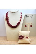 Parure Agata ruby, giada rosa e perle coltivate