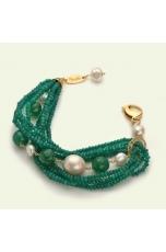 br agata verde smeraldo, perle di fiume, quarzo citrino