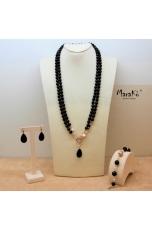 Parure Agata nera e perle coltivate. Charleston indossabile doppia o lunga