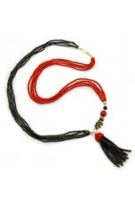 Chanel pon pon agata nera, spinello nero, corallo bamdoo rosso