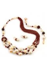 Parure Granato taglio diamond, perle bianche e rosa coltivate