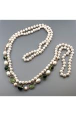 Charleston perle coltivate, quarzo muschiato verde