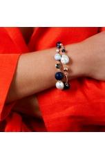 Bracciale  agata blu, calcedonio, perle coltivate