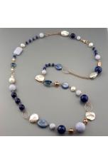 Chanel agata blu zaffiro, calcedonio, perle coltivate