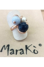 Anello Agata blu zaffiro, calcedonio, perla coltivata