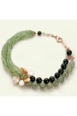 Collier quarzo rutilato verde, ossidiana, perle coltivate