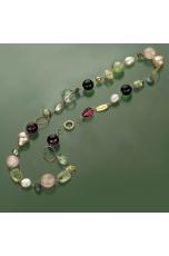 Collana componibile quarzo rutilato verde, ametista, perle coltivate, citrino, labradorite,quarzo rosa