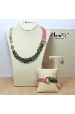 Parure Quarzo rutilato verde, Quarzo rosa taglio diamond E perle coltivate