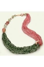 Collier quarzo rosa e quarzo rutilato verde taglio diamond