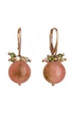 Orecchini giada floreale,perle coltivate, quarzo rutilato verde