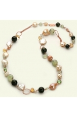 Chanel ossidiana, quarzo rutilato verde, perle coltivate, citrino