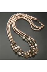 Chanel a tre fili perle coltivate, quarzo fumè