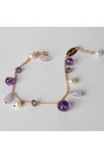 Bracciale charms, ametista taglio macchina, perle di fiume
