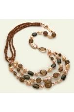 Collana multifilo perle coltivate, quarzo fumè