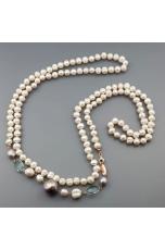 Charleston perle coltivate, quarzo celeste