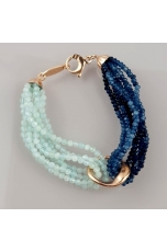 Bracciale bicolor, agata blu zaffiro, acquamarina multicolr