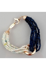 Bracciale bicolor,agata blu, acquamarina multicolor