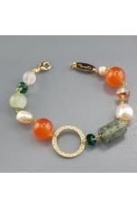 bracciale agata arancione, quarzo rutilato verde, perle coltivate, quarzo cipria