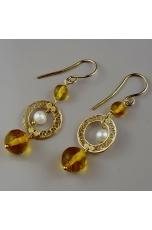 Orecchini , ambra messicana, perle coltivate